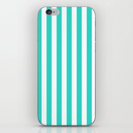 Narrow Vertical Stripes - White and Turquoise iPhone Skin