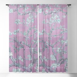 """Vincent van Gogh """"Almond Blossoms"""" (edited pink) Sheer Curtain"""