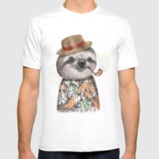 Mr.Sloth White Mens Fitted Tee LARGE
