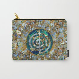 Choku Rei Symbol in Mandala on Marble and Gold Carry-All Pouch
