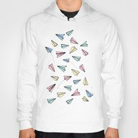 airplanes Hoodies featuring Paper Planes in Pastel by Tangerine-Tane