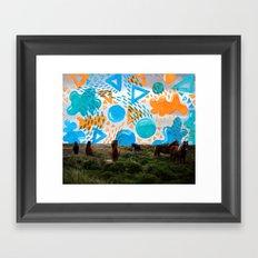 Wild Horses // Collage Horses + Creatve Pattern #society6 #art #prints Framed Art Print