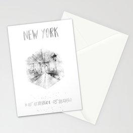 Coordinates NYC Brooklyn Bridge |watercolor monochrome Stationery Cards