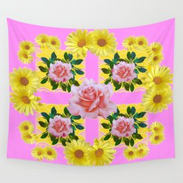 YELLOW DAISIES & PINK ROSES ABSTRACT PINK ART Wall Tapestry