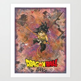 Dragon ball Kid Goku Manga Comic Anime Collage Superhero Comic Book Art Art Print