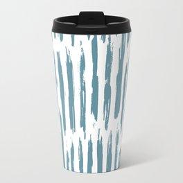 Vertical Dash Teal on White Travel Mug