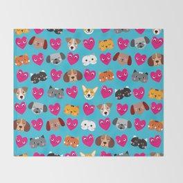 Cat Loves Dog Loves Cat Throw Blanket