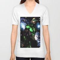 john green V-neck T-shirts featuring John Stewart : The Green Lantern by André Joseph Martin