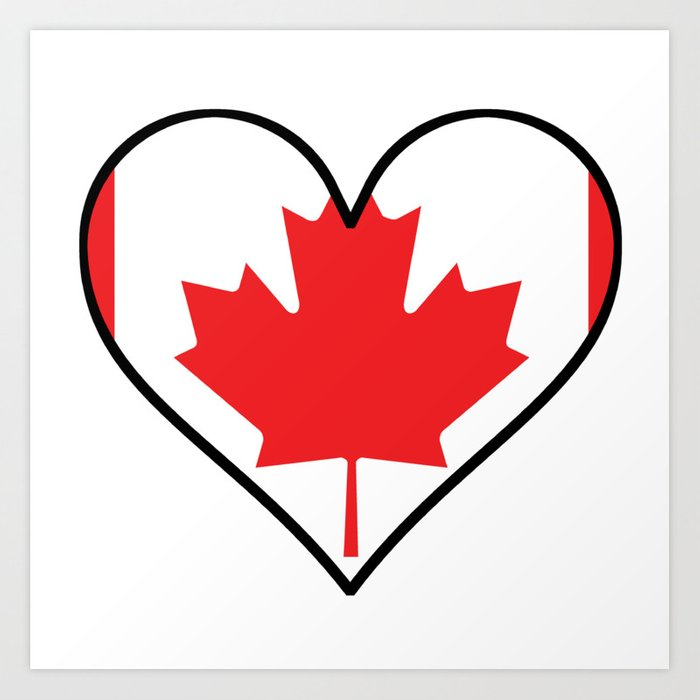 Canadian Flag Heart Art Print By Awesomeart Society6
