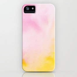 Yellow blush pink watercolor abstract brushstrokes pattern iPhone Case