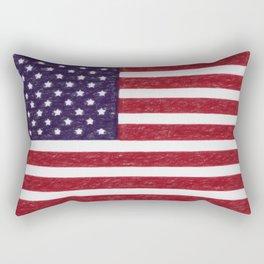 USA flag - in Crayon Rectangular Pillow