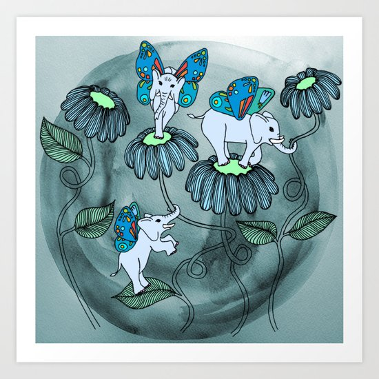 Look out for Elephlies Art Print