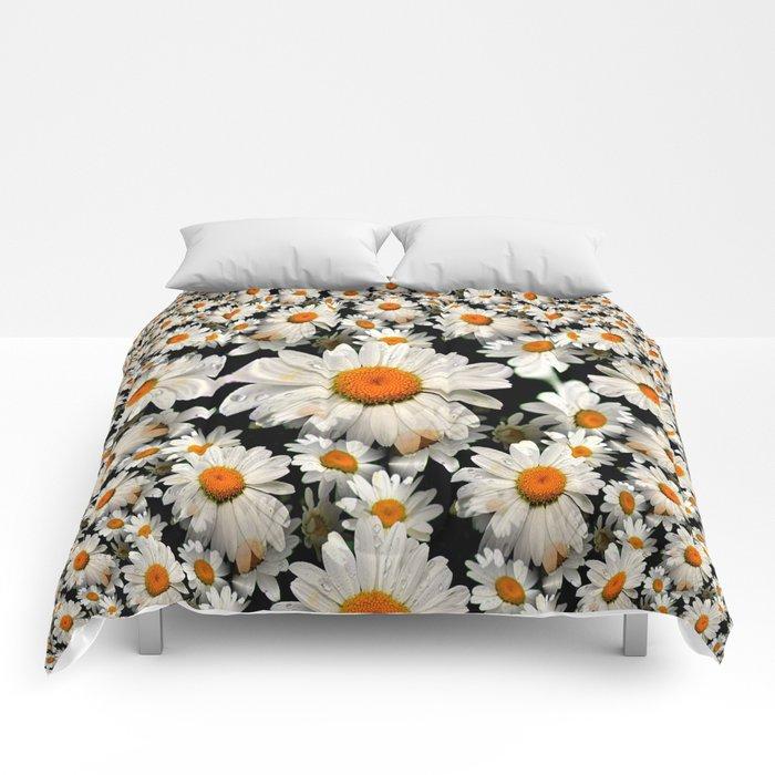 White Daisy Fractal Comforters