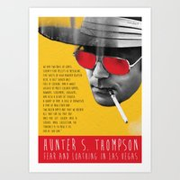 hunter s thompson Art Prints featuring Hunter S. Thompson by Zmudart