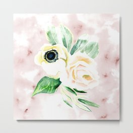 Impermanent Flowers in Pink Metal Print