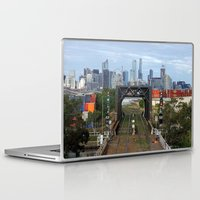 melbourne Laptop & iPad Skins featuring Melbourne cityscape by Lesley Bourne