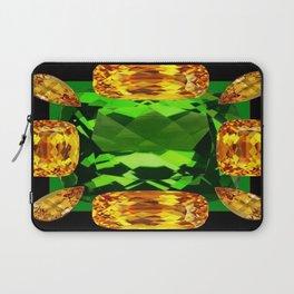 Emerald & Topaz Birthstone Gems Yellow-Green-Black Design Laptop Sleeve