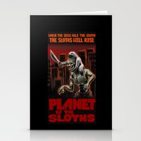 sloths Stationery Cards featuring Planet Of The Sloths by Chris Moet