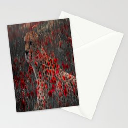 cheetah and poppys Stationery Cards