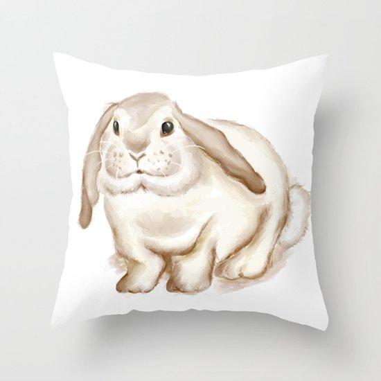 Watercolor Bunny Throw Pillow