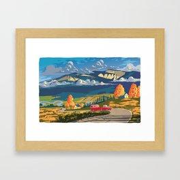 Retro Travel Autumn Landscape Illustration Framed Art Print