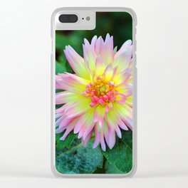 Dahlia With Green Leaves Clear iPhone Case