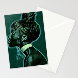 Little Black Girl Under The Full Moon Stationery Cards