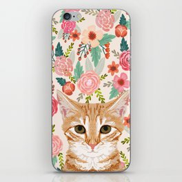 Orange Tabby floral cat head cute pet portrait gifts for orange tabby cat must haves iPhone Skin