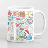 ghibli Mugs featuring Ponyo Pattern - Studio Ghibli by Teacuppiranha