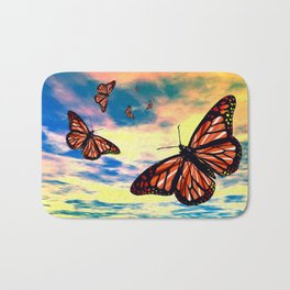 Flying Monarch Butterflies Bath Mat