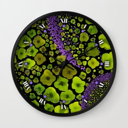 Paths of Color [green & purple] Wall Clock