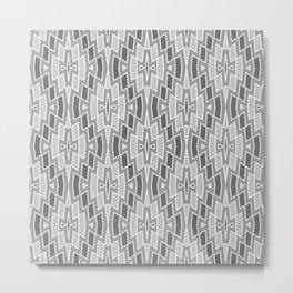 Tribal Diamond Pattern in Grays and White Metal Print