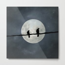 Two Crows In The Light Of A Silvery Moon Metal Print