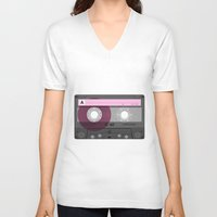 cassette V-neck T-shirts featuring Cassette by Sedef Uzer