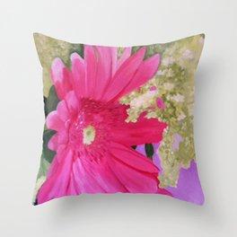 Pink Gerber Daisy Throw Pillow