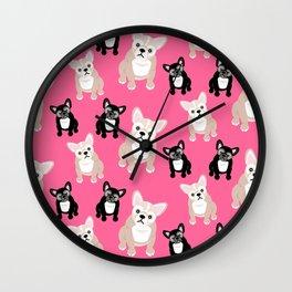 French Bulldog Puppies Pink Wall Clock