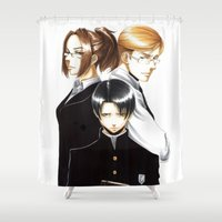 levi Shower Curtains featuring OriSor Shingeki No Kyojin High School Fanart by Mistiqarts by Mistiqarts