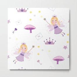 Cute Fairytale Pattern With Stars, Mushroom and Magic Wand Pattern Metal Print
