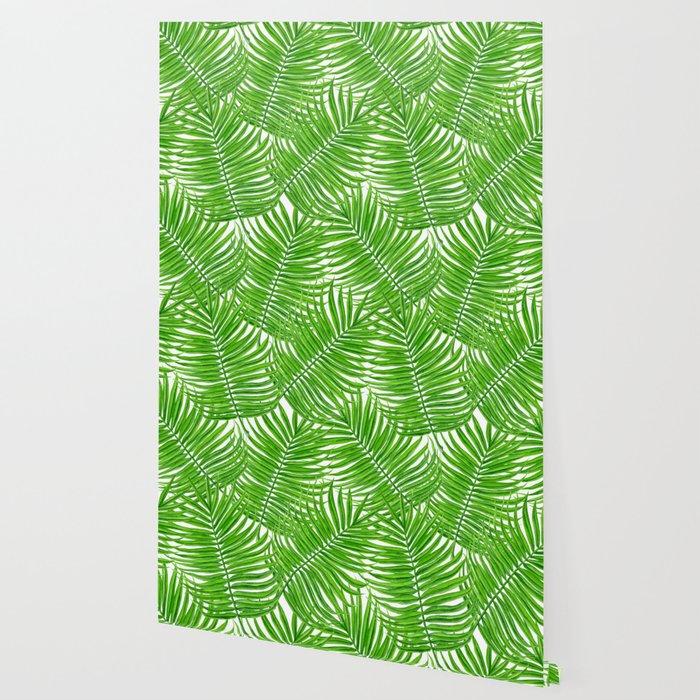 Palm leaves watercolor II Wallpaper