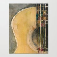 guitar Canvas Prints featuring Guitar  by Dorrie Rifkin Watercolors