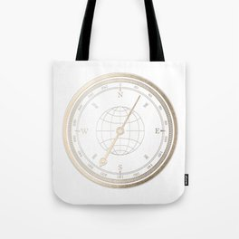 Gold Compass on White Tote Bag