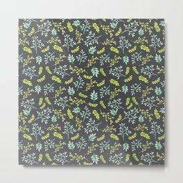 Modern lime green yellow black botanical floral Metal Print