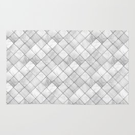 Faux Patchwork Quilting - White & Silver Pattern Rug