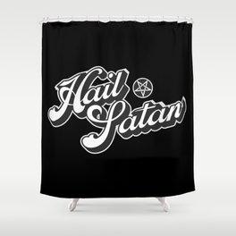 Hail Satan - Grayscale pop vintage letters Shower Curtain