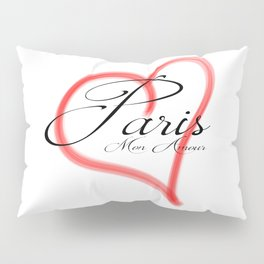 Paris Mon Amour in a red heart - Vector Pillow Sham