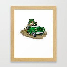 ST PATRICKS DAY CAR WITH GOLD Leprechaun Irish Framed Art Print