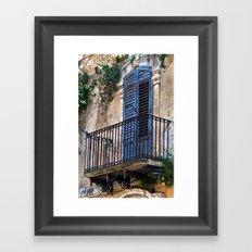 Blue Sicilian Door on the Balcony Framed Art Print