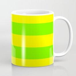Bright Neon Green and Yellow Horizontal Cabana Tent Stripes Coffee Mug