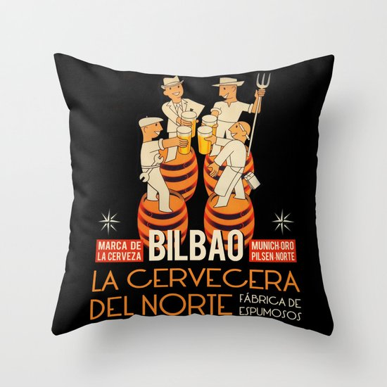 La cervecera del norte Throw Pillow