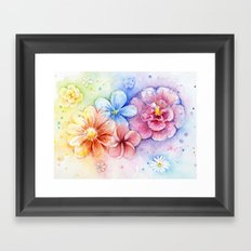 Flowers Watercolor Floral Colorful Rainbow Painting Framed Art Print